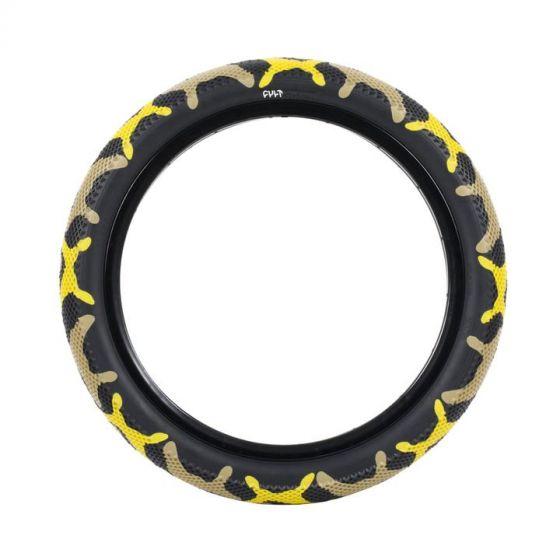 Cult Vans 16-Inch Yellow Camo Tyre